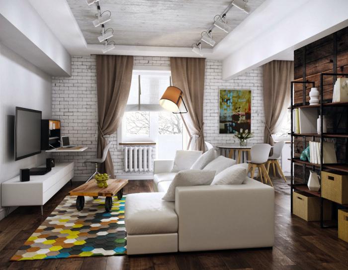 Яркая квартира-студия в стиле лофт.