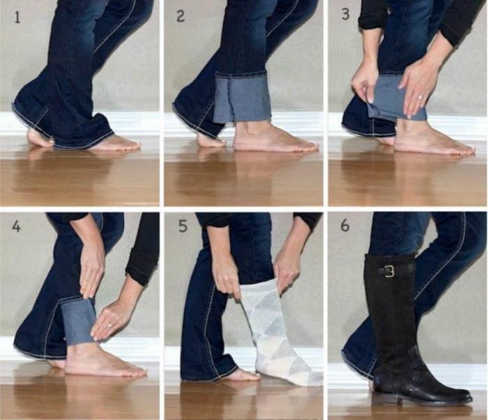 Очень простой способ, который поможет аккуратно заправить джинсы в высокие сапоги.