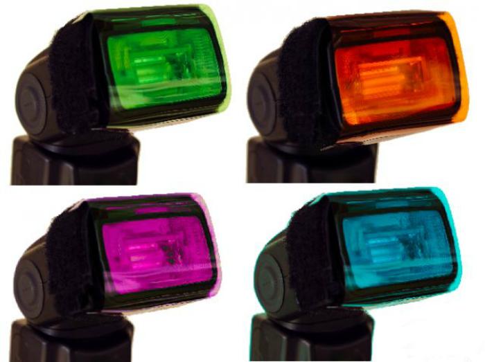 Цветные фильтры на вспышку своими руками.