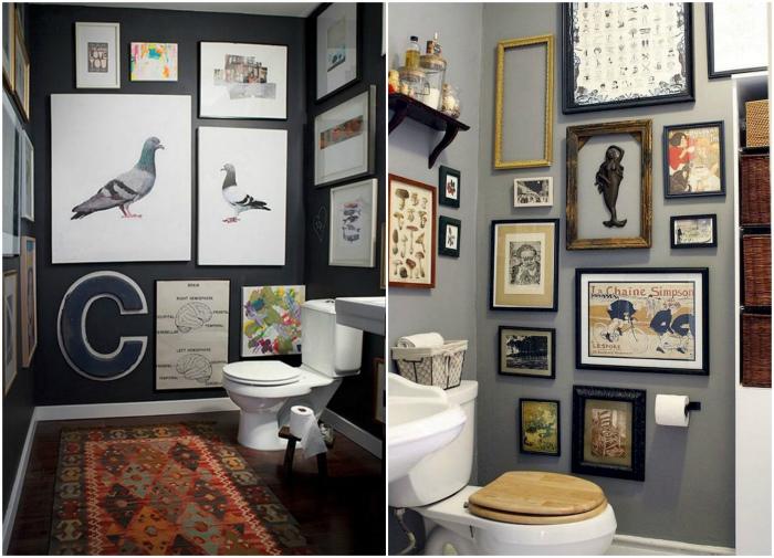 Картины на стенах туалета. | Фото: Room a Holic, Pinterest.