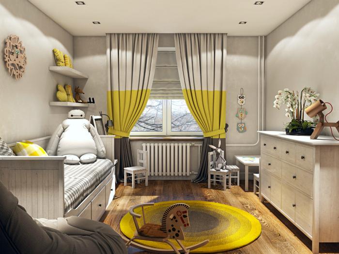 Солнечный дизайн детской спальни.