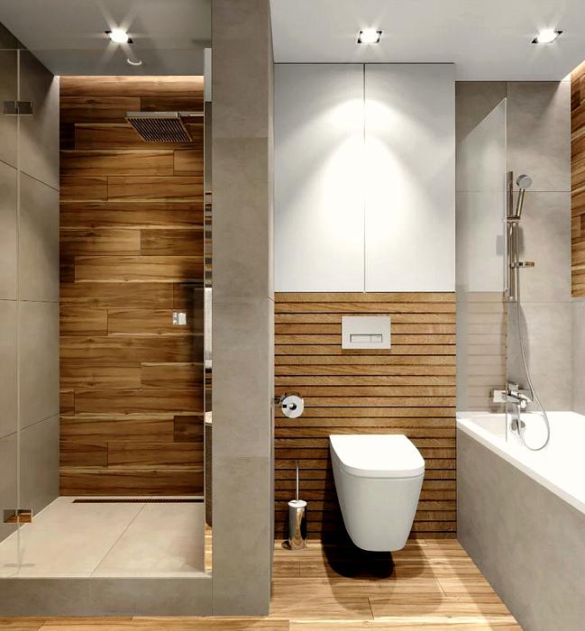 Деревянные детали в ванной комнате. | Фото: Pinterest.