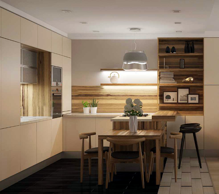 Нейтральная кухня с имитацией дерева.