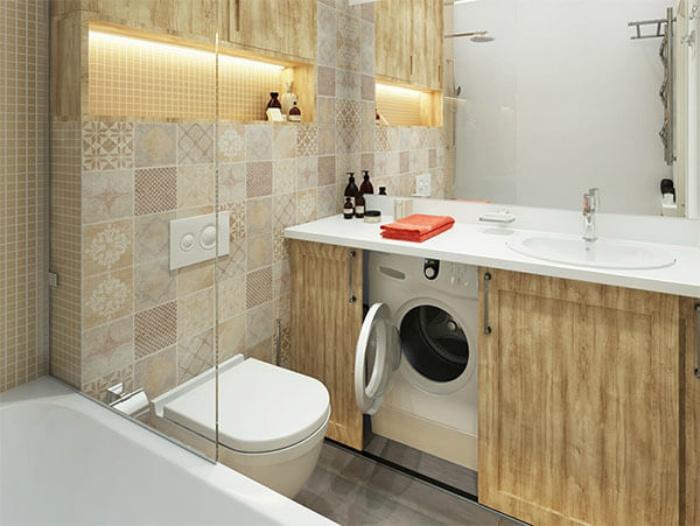 Большое зеркало и необычная тумба. | Фото: Design-homes.ru.