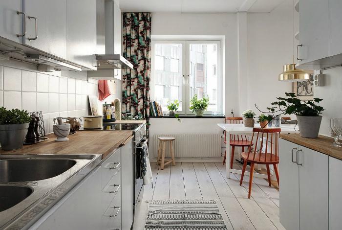 Светлая кухня в скандинавском стиле.
