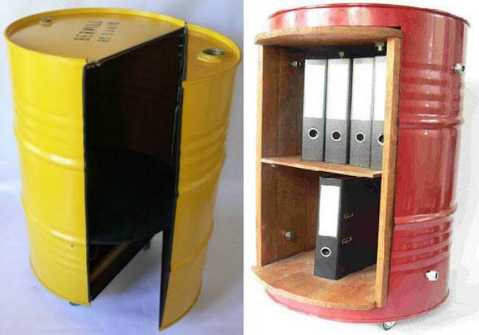 Шкафчики из жестяных бочек.