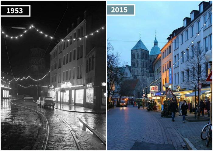Город Оснабрюк в 1953 и 2015.