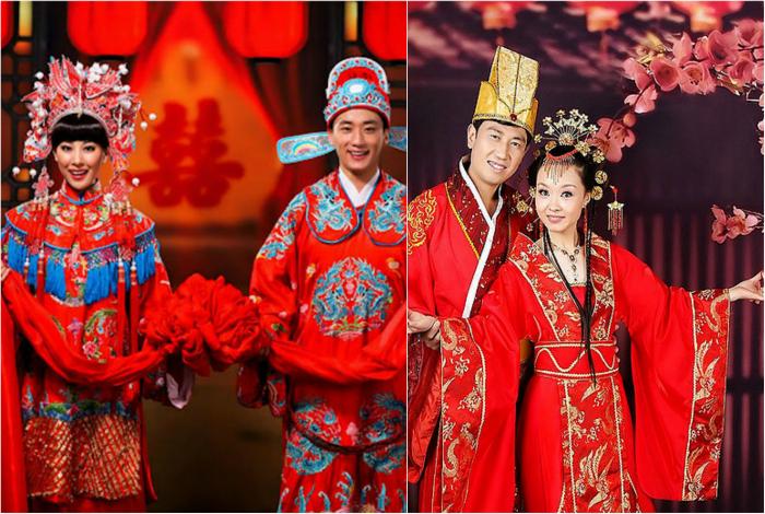 Китайские свадебные костюмы молодых.