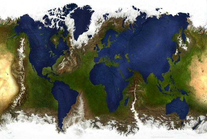 Карта с обратным изображением воды и суши.