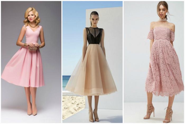 Элегантные модели платьев миди.