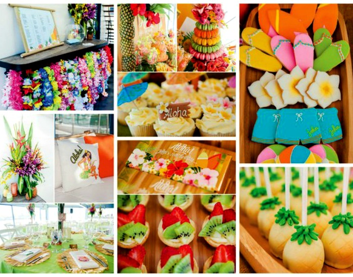 Цветочные венки, холодные напитки, канапе из фруктов и веселая музыка - все что нужно для вечеринки.