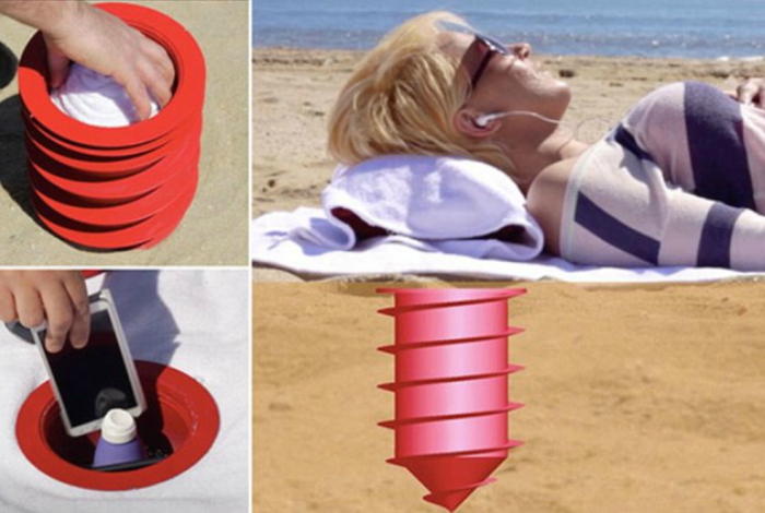Необычный девайс для хранения ценных вещей на пляже - Beach Vault.