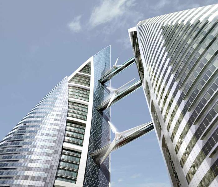 Экологический небоскреб - The Bahrain World Trade Center Towers, который способен генерировать электроэнергию.