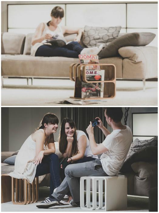 Благодаря инновационной форме, Woodieful может использоваться тремя различными способами, начиная от стула и заканчивая кофейным столиком. Небольшой размер позволяет с легкостью спрятать его, когда он не используется.