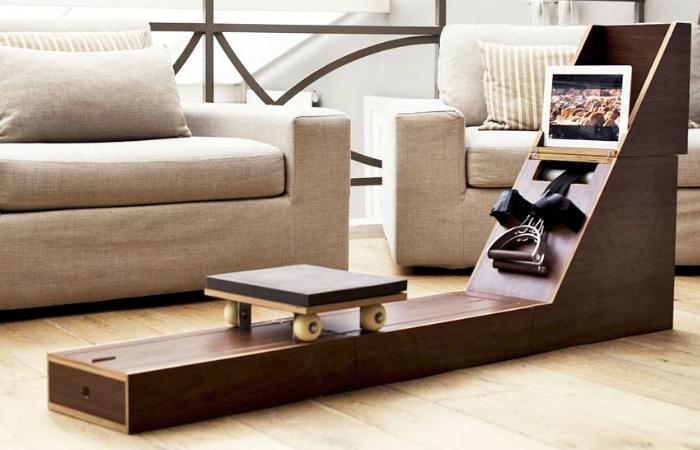Патрик Сен-Мартин, создал уникальный предмет мебели Ram & Row. В сложенном виде это стильная тумбочка, на которую можно поставить чашку с чаем, а в разобранном – гребной тренажер. Это очень удобное решение для спортивных обитателей небольших квартир.