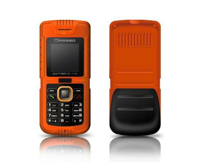 Телефон Gresso Extreme X3 безболезненно переносит погружение в воду на глубину до 5 метров на протяжении одного часа, падения с высоты 7 метров и способен выдержать давление до одной тонны, а диапазон его рабочих температур лежит в пределах от -50 до +60 градусов Цельсия.