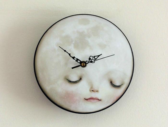 Настенные часы с изображением луны.