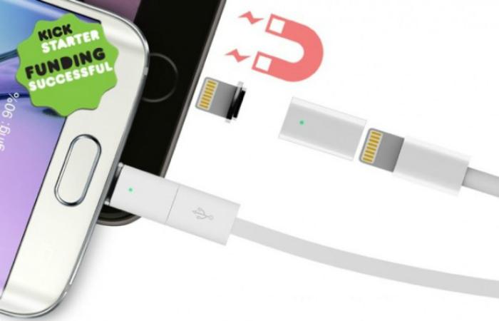 Магнитный зарядный кабель для смартфона Apple Iphone под названием - ZNAPS.