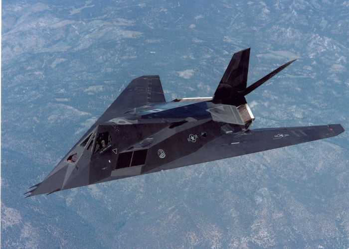 Single American tactical aircraft unobtrusive percussion - Lockheed F-117 Nighthawk.