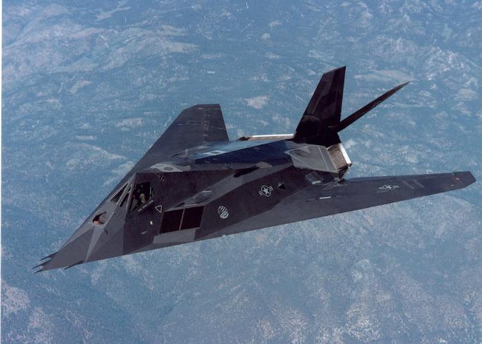 Single American tactical aircraft unobtrusive percussion - Lockheed F-117 Nighthawk.