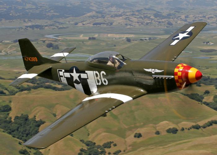 American single long-range fighter of World War II - North American P-51 Mustang.