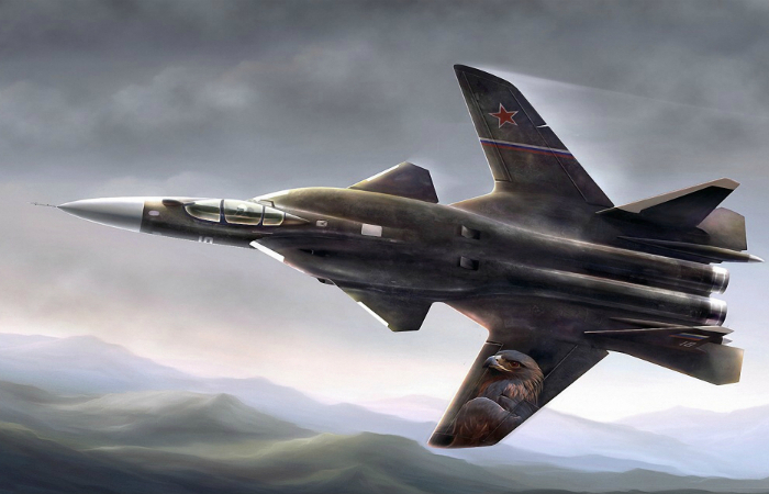 The Russian carrier-based fighter - the Su-47 Berkut.