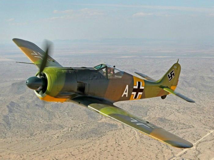 German single-engine single-seat fighter monoplane Focke-Wulf Fw 190 Wurger.