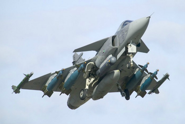 Swedish multi-role fighter - Saab JAS 39 Gripen fourth generation, manufactured by Saab Avioniks.