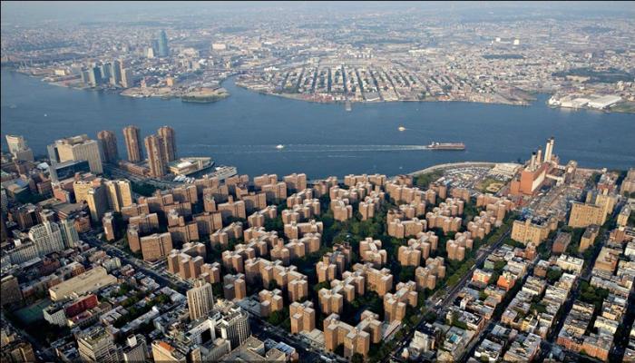Необычный квартал Нью-Йорка с высоты птичьего полета.