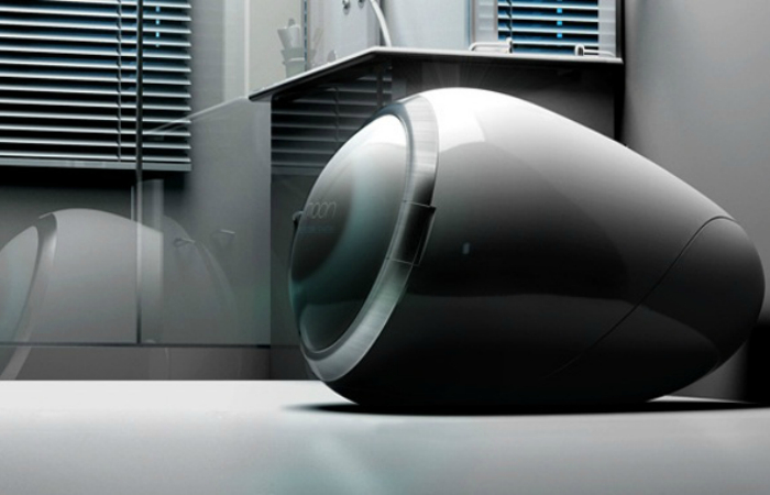 Необычная стиральная машинка с сенсорной панелью управления и беспроводной технологией Wi-Fi.