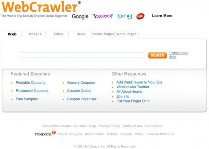 Метапоисковая интернет система, работающая с помощью Yahoo и Google под названим - WebCrawler.com