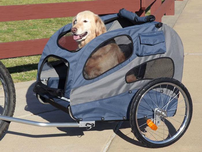 Велоколяска для собак отличный способ вести активный образ жизни и не разлучаться с питомцем.