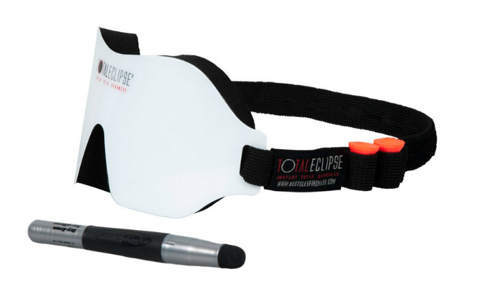 Светозащитные очки с панелью, на которой можно оставлять важные записи.