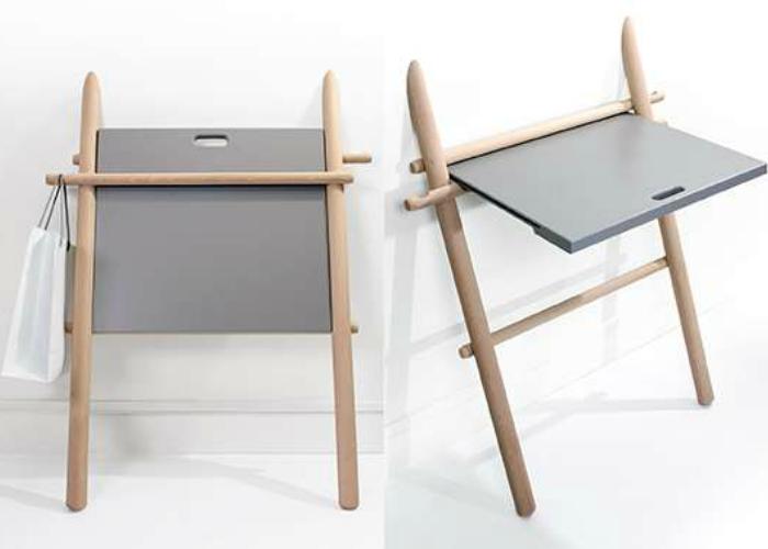 Оригинальный раскладной стол, который открывается по мере необходимости.