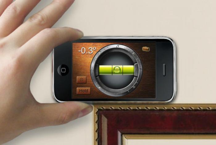 Функциональный электронный строительный уровень в специальном мобильном приложении для Iphone.