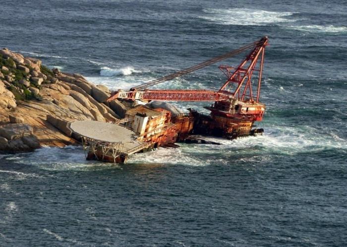 Затонувшая французская плавучая платформа под названием - BOS-400.