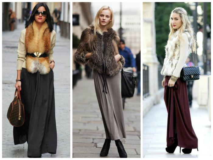 Сочетание одежды с длинной юбкой