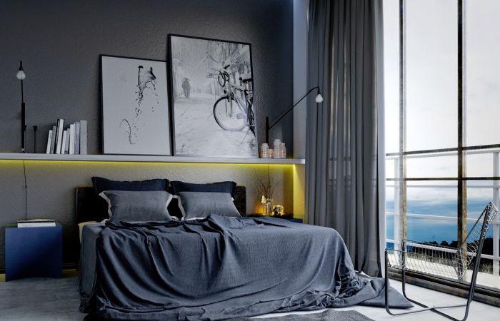 Неординарный интерьер мужской спальни