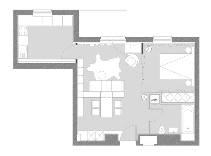 Планировка квартиры, 50 квадратных метров
