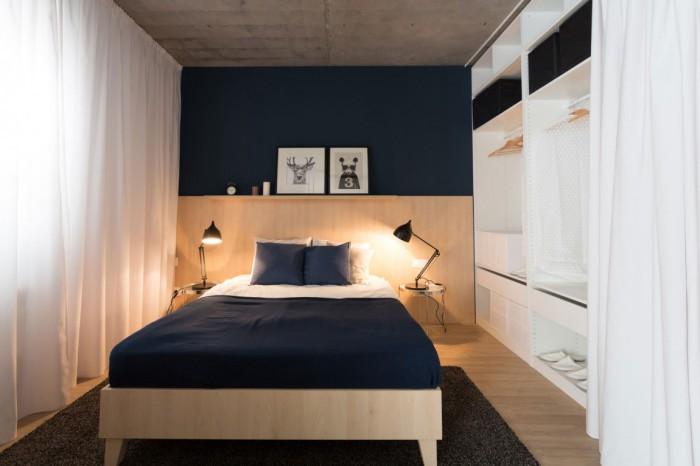 За шторой в спальне прячется гардероб
