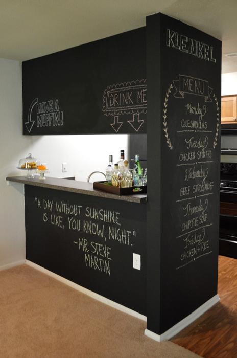 Грифельная краска в интерьере кухни