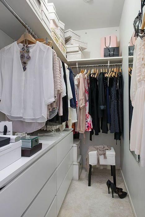 Распределение пространства в небольшой гардеробной