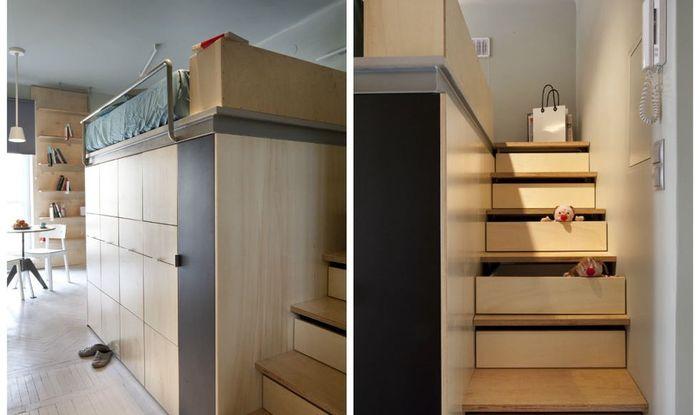 Системы хранения в лестнице