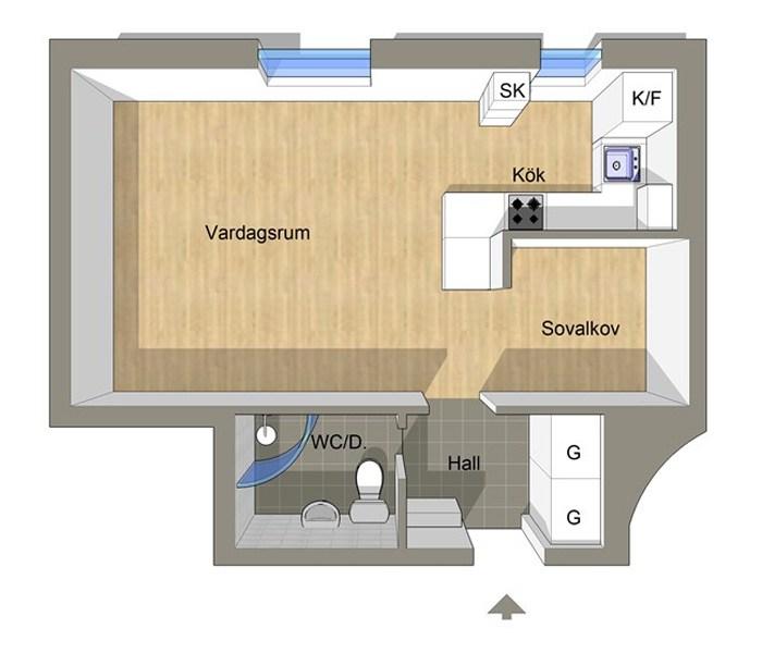 Планировка квартиры, 35 кв.м.