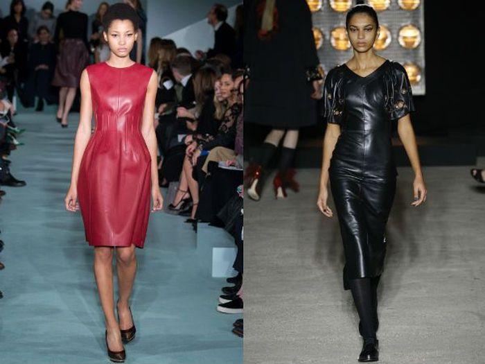 Модные платья из кожи