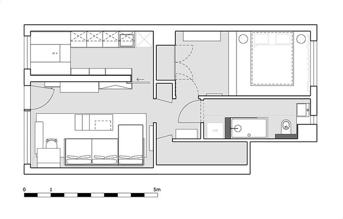 Планировка квартиры, 45 кв.м.