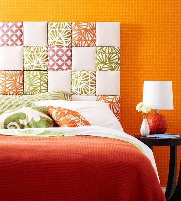 Идея №14: стильное изголовье кровати в стиле пэчворк