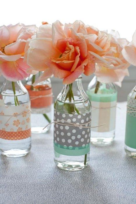 Идея №5: прозрачные стеклянные бутылки