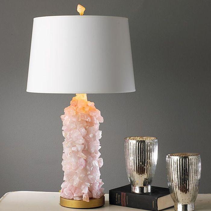 Настольная лампа с розовым кварцем