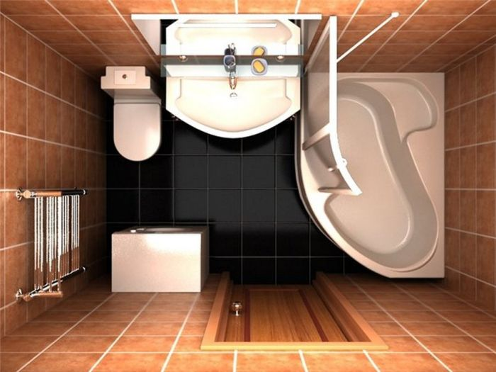 Дизайн прямоугольной ванной комнаты с душевой кабиной